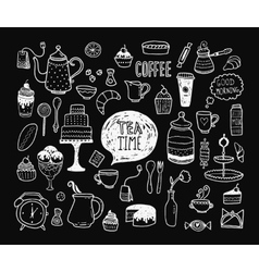 Hand drawn tea time collection vector image