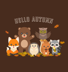 Happy autumn typography and cute character vector