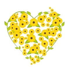 Heart flowers yellow vector