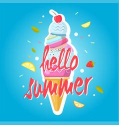 Hello summer ice cream cone colorful background vector