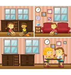 House scene with kids doing different activities vector image