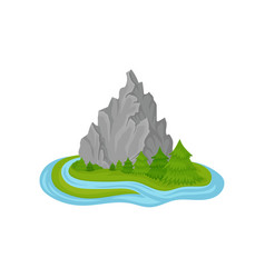 island with high rocky mountain green fir trees vector image