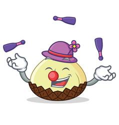 juggling snake fruit mascot cartoon vector image