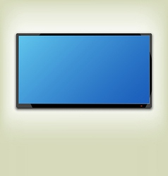 Lcd or led tv screen hanging on wall vector