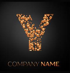 letter y logo gold dots alphabet logotype vector image