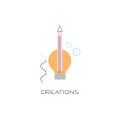 light bulb pencil icon new creative business idea vector image