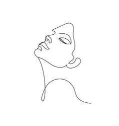 linear face art woman portrait continuous vector image