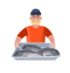 Man with fish vector
