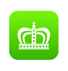 Monarchy crown icon digital green vector