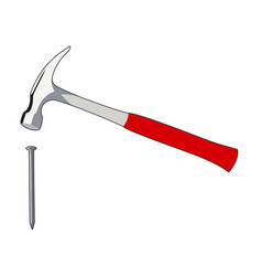Nail and hammer vector