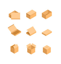 packaging box isometric set images vector image