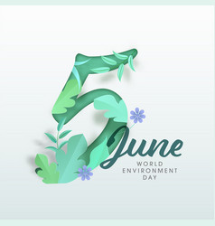 Paper cut 5 june text decorated with green leaves vector