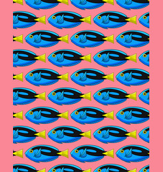 Pattern with surgeonfishes on pink background vector