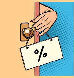 percent discount woman hand hangs a sign vector image
