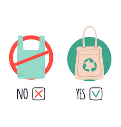 plastic and eco bags pollution polythene problem vector image