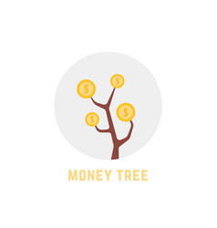 round money tree logo isolated on white vector image