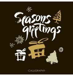 Season s greetings Christmas calligraphy vector image