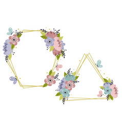 set isolated beautiful floral gold frames vector image