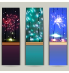 Set of banners with fireworks vector