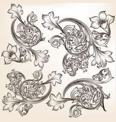 Set of calligraphic flourishes and swirls vector