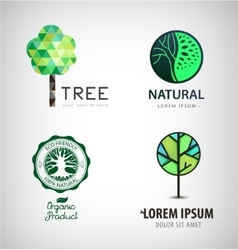 Set of green tree logos Eco organic vector