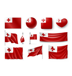 set tonga realistic flags banners banners vector image