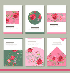 set with six floral romantic templates roses and vector image