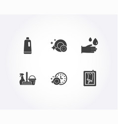 shampoo rubber gloves and dishwasher timer icons vector image