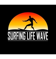 Silhouettes of surfer vector