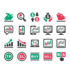 Stock market online icon set vector