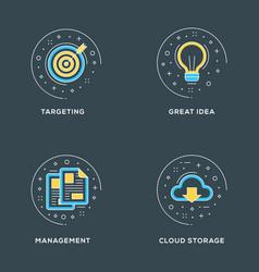 targeting great idea management cloud storage set vector image