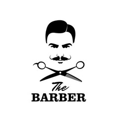 The barber handsome man with mustache scissors vector
