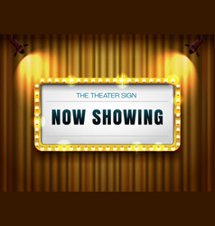 Theater sign gold frame on curtain with spotlight vector