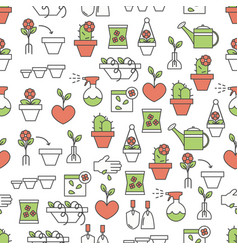 thin line art home flowers seamless pattern vector image