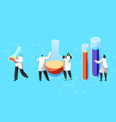 tiny scientists characters in white coats conduct vector image