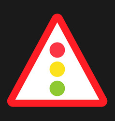Traffic signal ahead sign flat icon vector