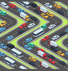 Urban cars seamless texture isometric roads and vector