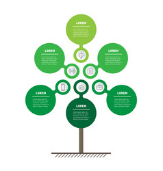 Vertical timeline infographics looks like tree vector