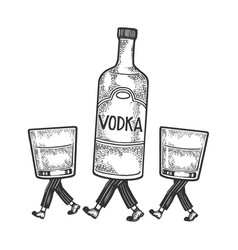 Vodka walks on its feet sketch engraving vector
