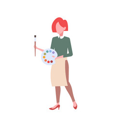 woman artist holding palette with colored paints vector image