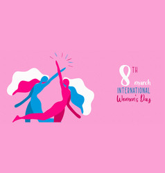 Womens day banner woman friends together vector