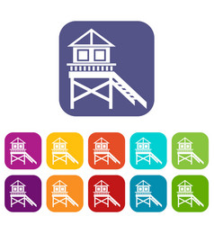 wooden stilt house icons set vector image
