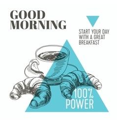 background Hand drawn breakfast vector image vector image