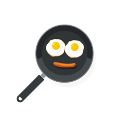 fried eggs on pan with sausage food smile vector image vector image