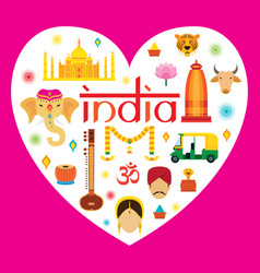 India travel attraction vector