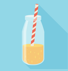 Orange juice in a bottle icon flat icon with long vector