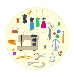Round concept sewing equipment vector image