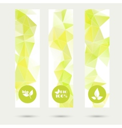 Set of banners with triangles and polygon mesh and vector image
