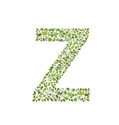 Spring green leaves eco letter Z vector image