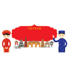 vietnam landmarks people in traditional clothing vector image vector image